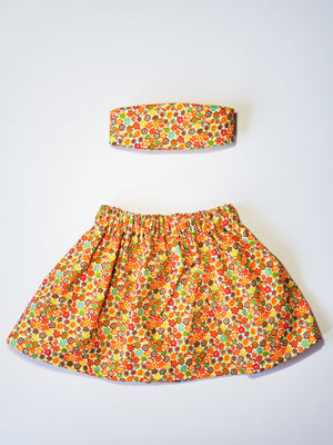 Orange floral skirt (lined)