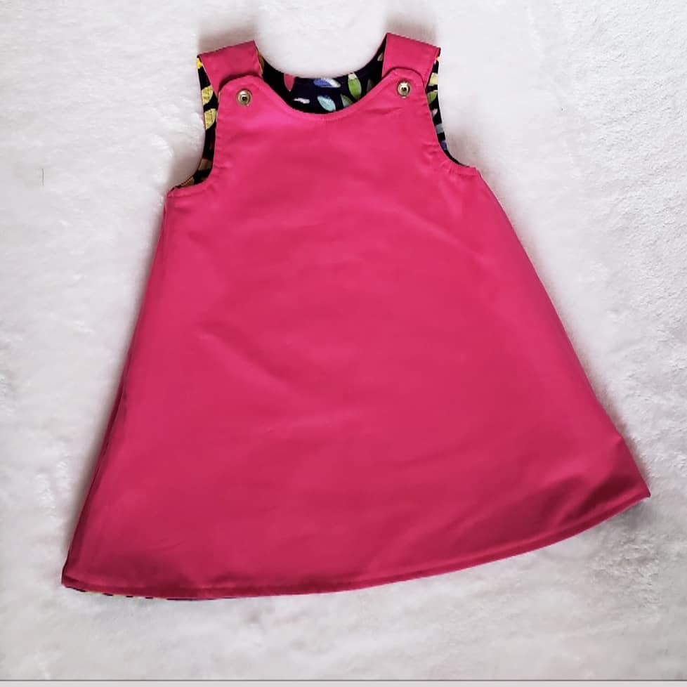 Colorful leaves pink reversible dress