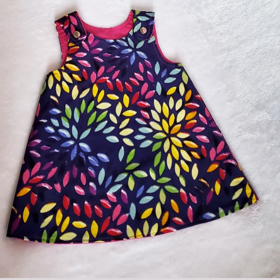 Colorful leaves pink reversible dress 12-18