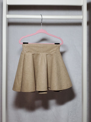 faux suede khaki circle skirt
