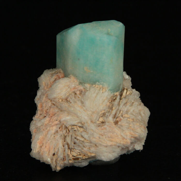 Amazonite Crystal on Albite Mineral Specimen