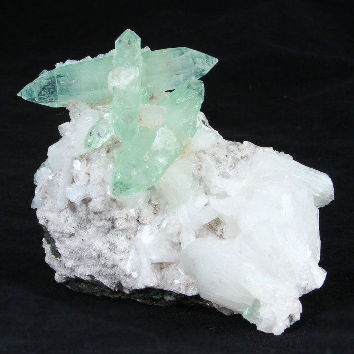 Green Apophyllite and Stilbite Crystal