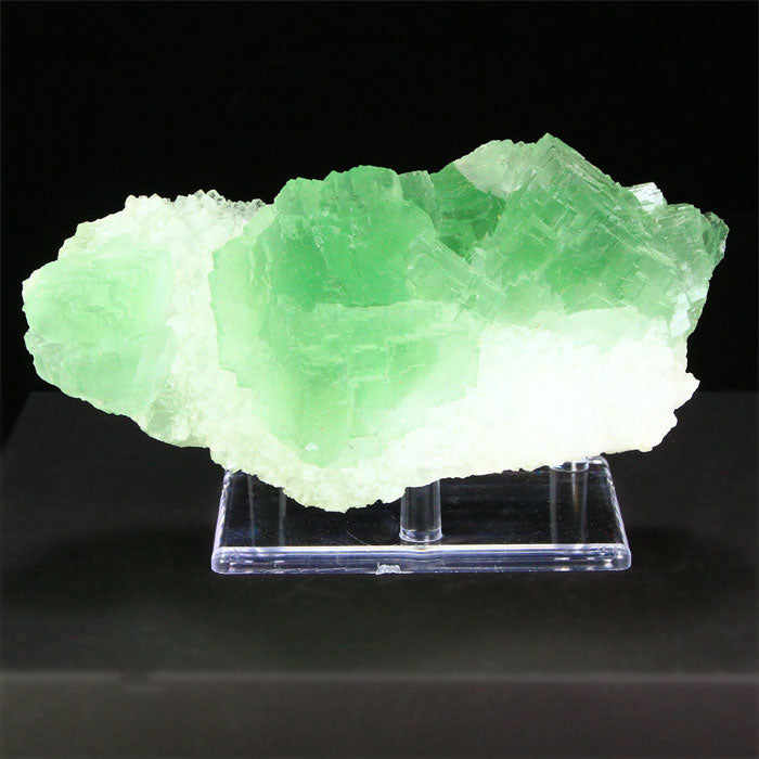 Chinese Green Fluorite Crystals on White Quartz