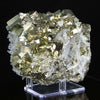 natural raw pyrite crystals with quartz crystals