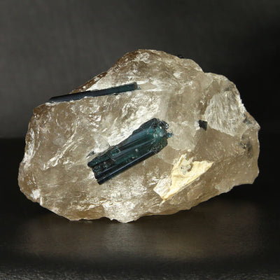Indicolite Tourmaline Crystals in Quartz