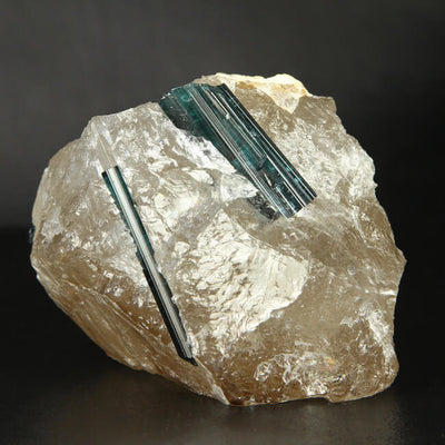 Indicolite Tourmaline Crystals in Quartz from Brazil