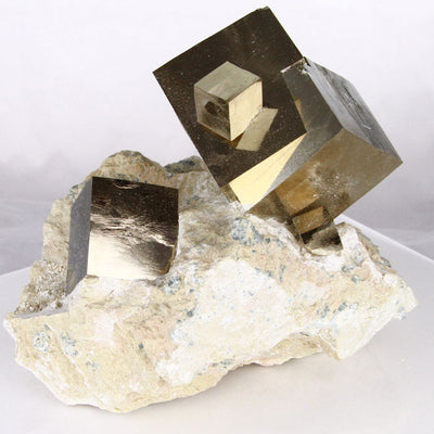 Large Cabinet Pyrite Cube Crystal Specimen Spain