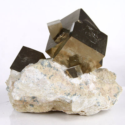 Spanish cubic pyrite cystals on matrix