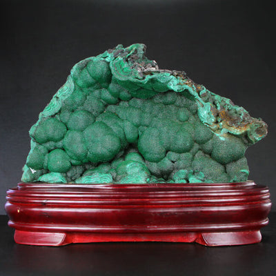 Malachite Mineral Specimen on Stand