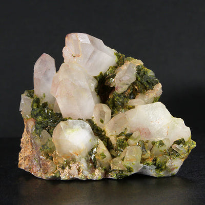 Quartz Cluster and Epidote Crystals