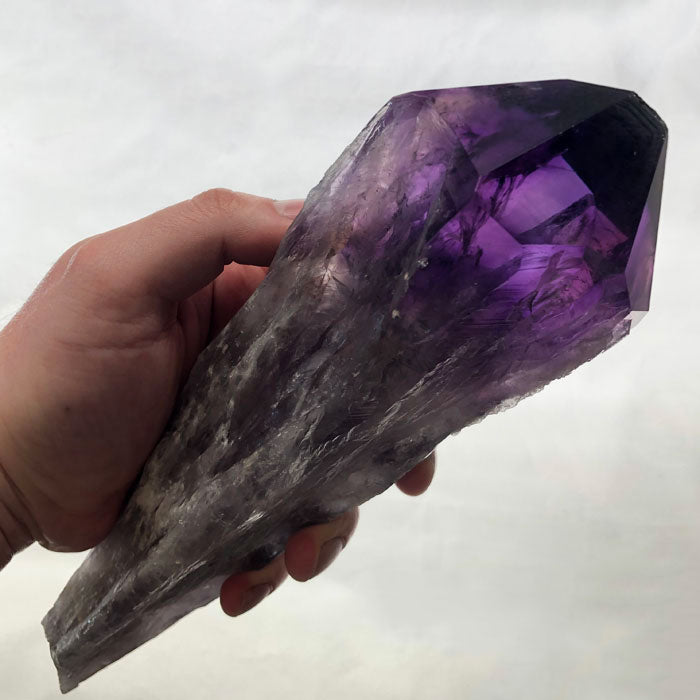 raw gemmy amethyst crystal point