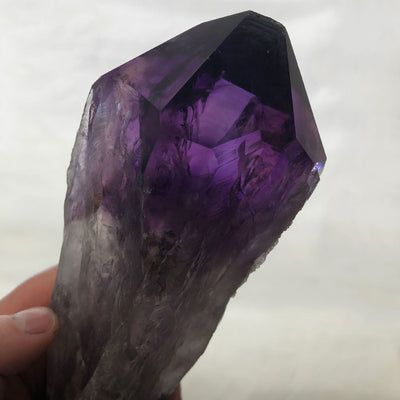 undamaged amethyst crystal point brazil
