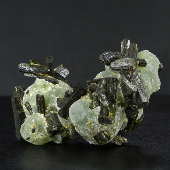 Prehnite and raw epidote crystal specimen