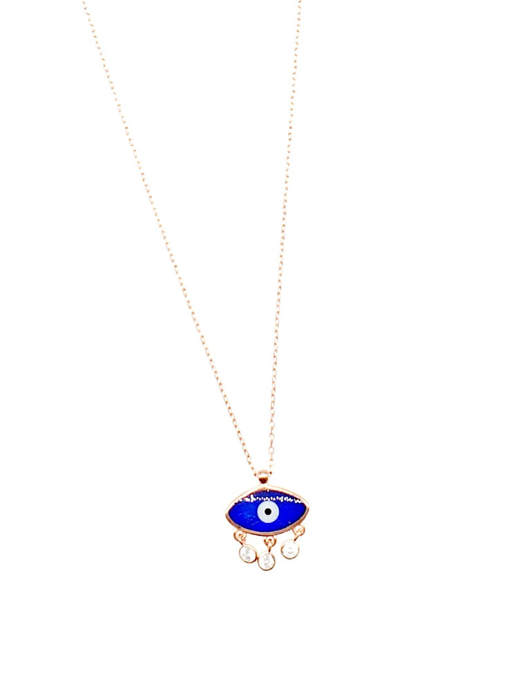 RGP Small Evileye w/ Hanging CZ Dainty Necklace
