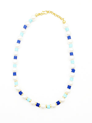 Pearl w/ Blue Resin Beads Necklace
