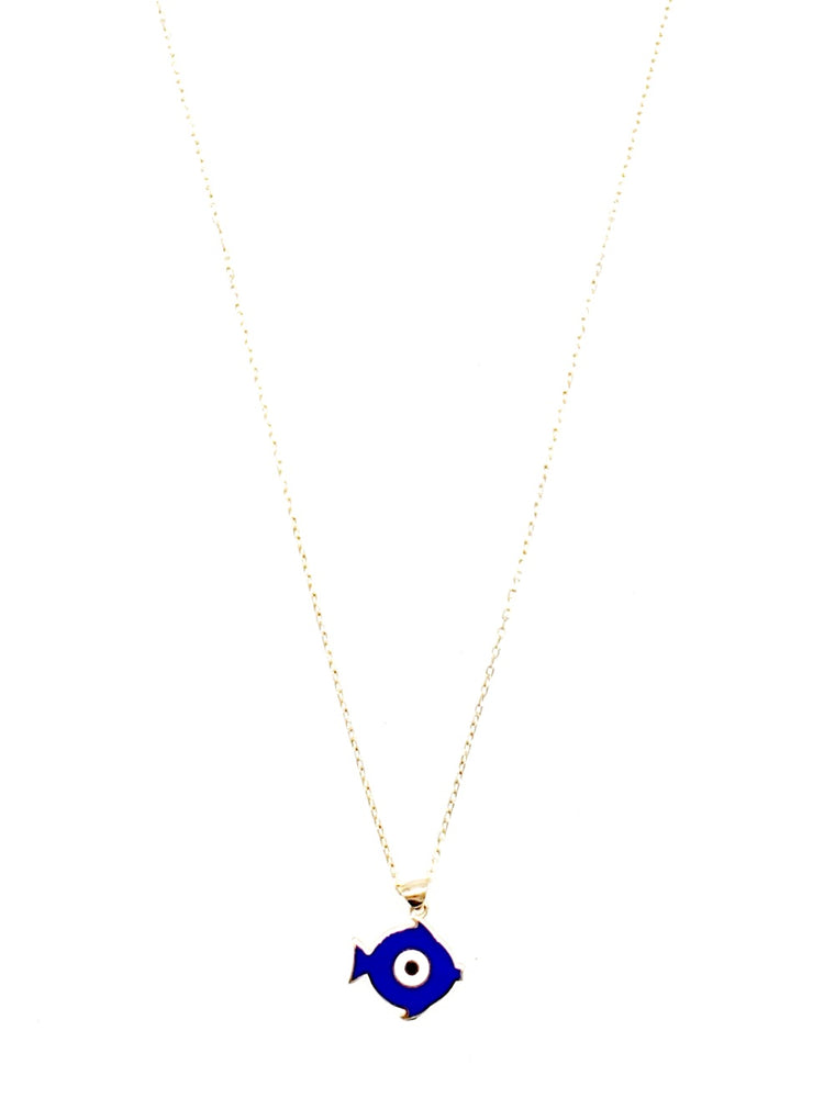 Royal Blue Evileye Fish Dainty Necklace