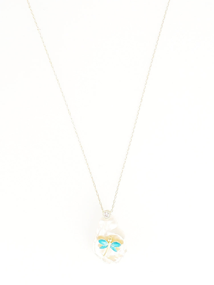 Dragonfly Pearl Dainty Necklace