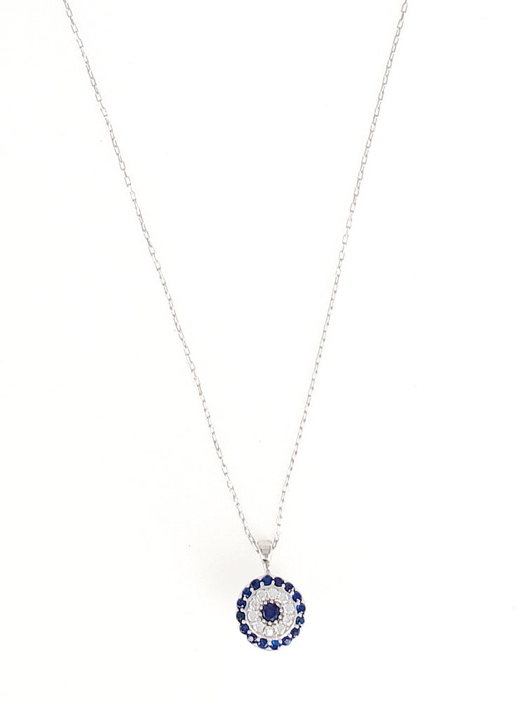 Bubble CZ Evileye Dainty Necklace