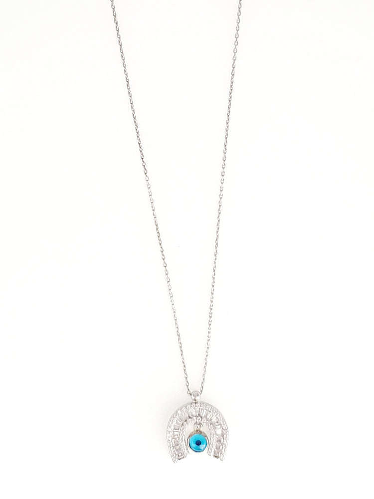 CZ Evileye Horseshoe Dainty Necklace