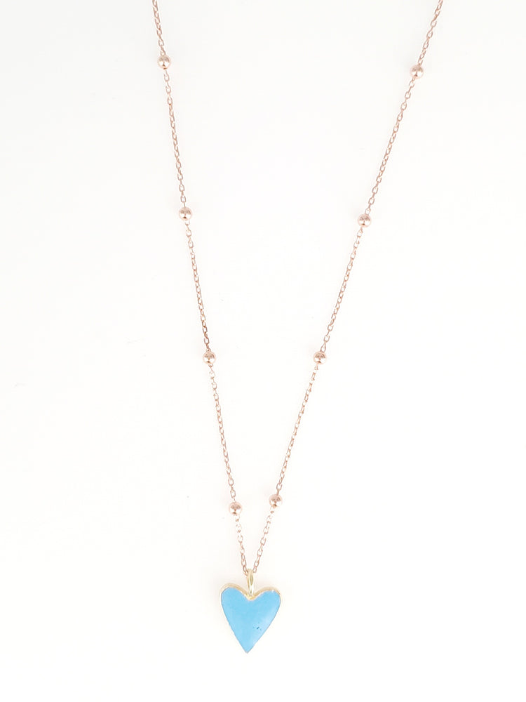 RGP Blue Heart Dainty Necklace