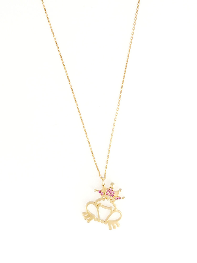 Frog w/ Pink Crown Dainty Necklace