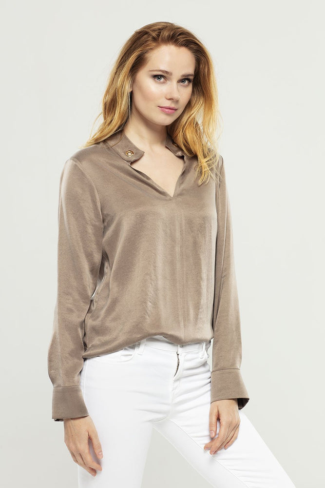 Brown Cupro Blouse