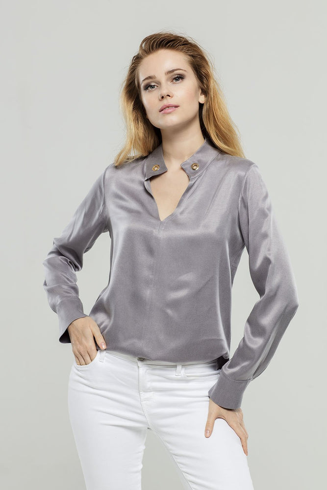 Gray Cupro Blouse