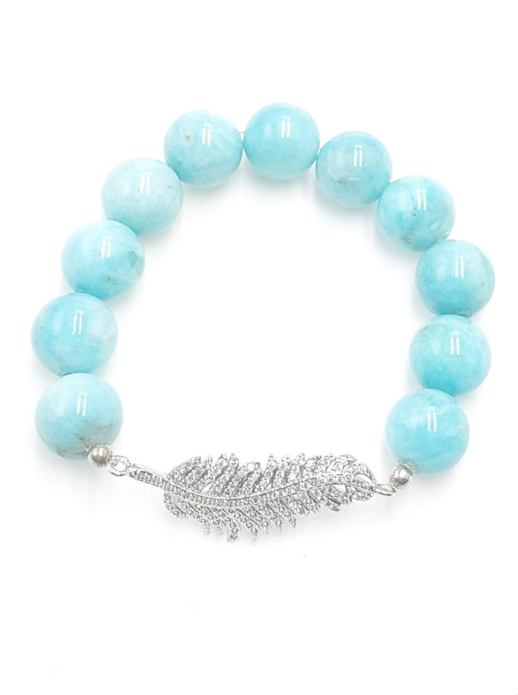 Load image into Gallery viewer, Amazonite Bracelet w/ Feather CZ