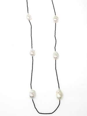 Black Spinal Beaded Necklace w/ Baroque Pearls