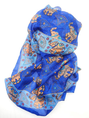 Royal Blue Silk Scarf w/ Elephant Design