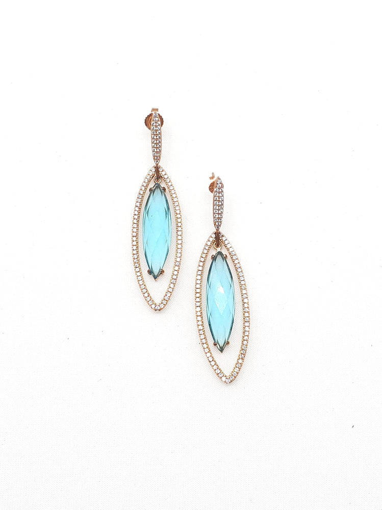 Load image into Gallery viewer, Blue Quartz Drop w/ CZ Earrings