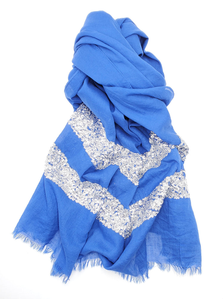 Blue Cotton Scarf w/ Silver Sequins