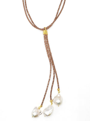 Brown Leather Necklace w/ Hanging Baroque Pearls