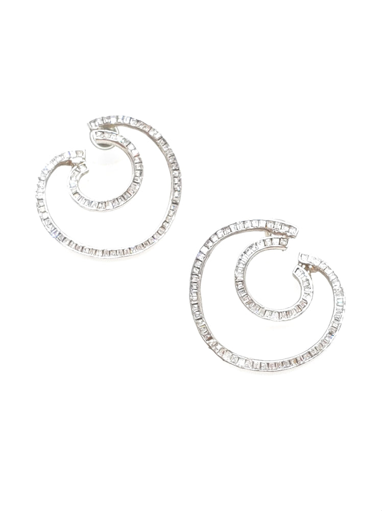 Crescent CZ Silver Earrings