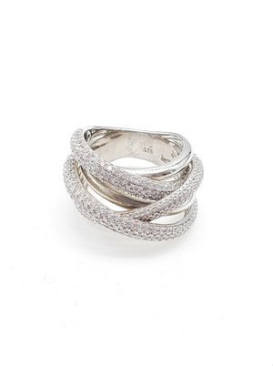 Crisscross CZ Paved Ring
