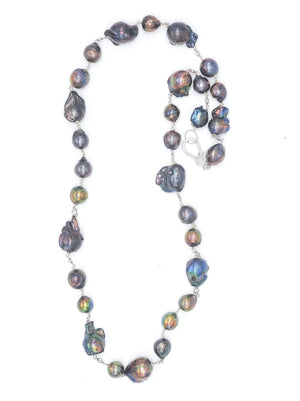 Dark Baroque Pearl Necklace w/ CZ