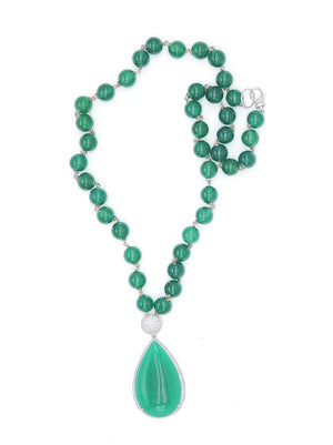 Dyed Jade Necklace w/ Hanging Pendant