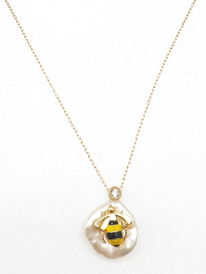 Pearl w/ Bee Necklace