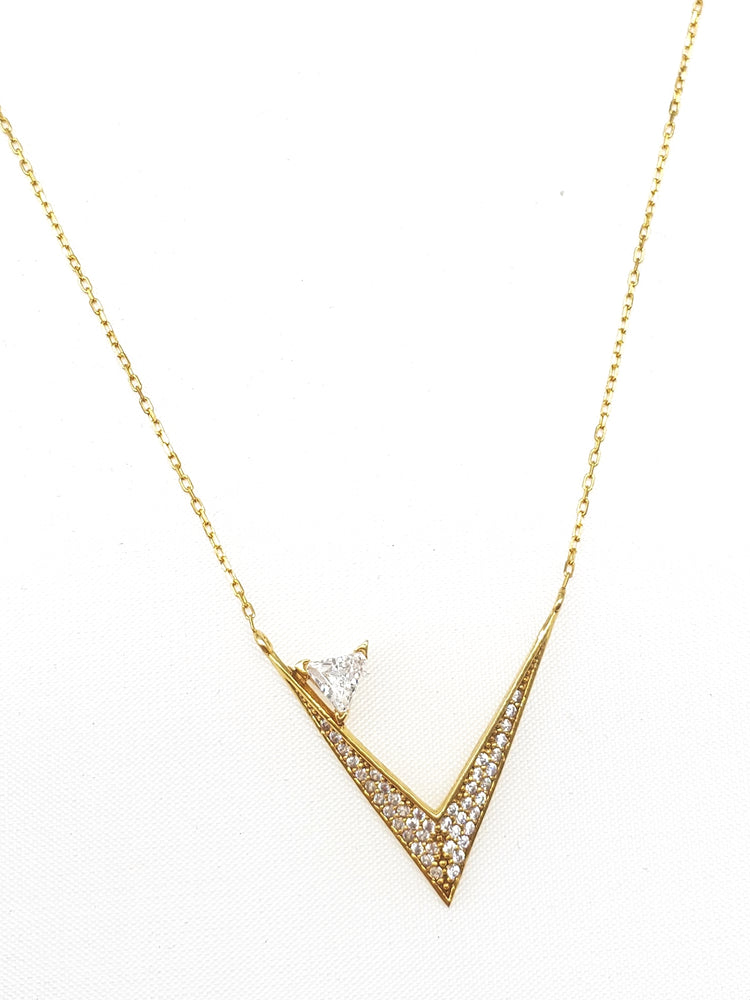 Load image into Gallery viewer, V shape necklace with cz