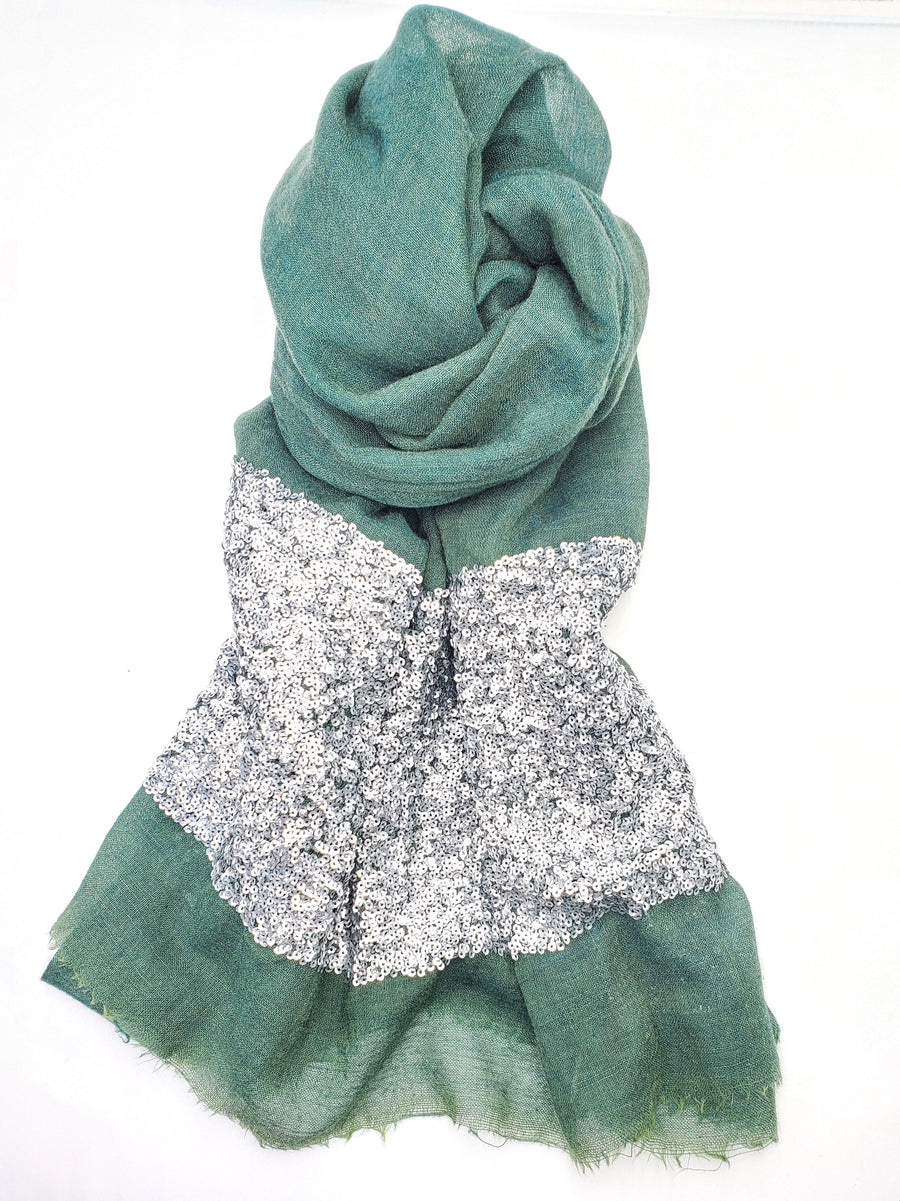 Green Wool Scarf w/ Silver Sequins