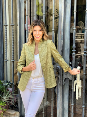 Load image into Gallery viewer, Green Linen/Silk Blazer