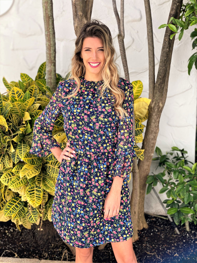 Load image into Gallery viewer, Navy Flower Dress