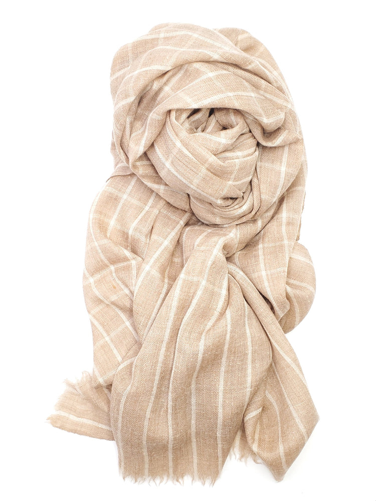 Light Brown Check Cashmere Scarf