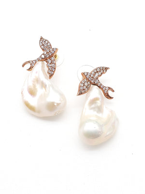 Rose Gold CZ Doves w/ Baroque Pearls