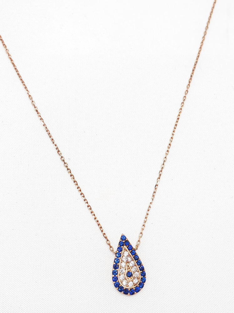 Teardrop CZ Evil-Eye Necklace