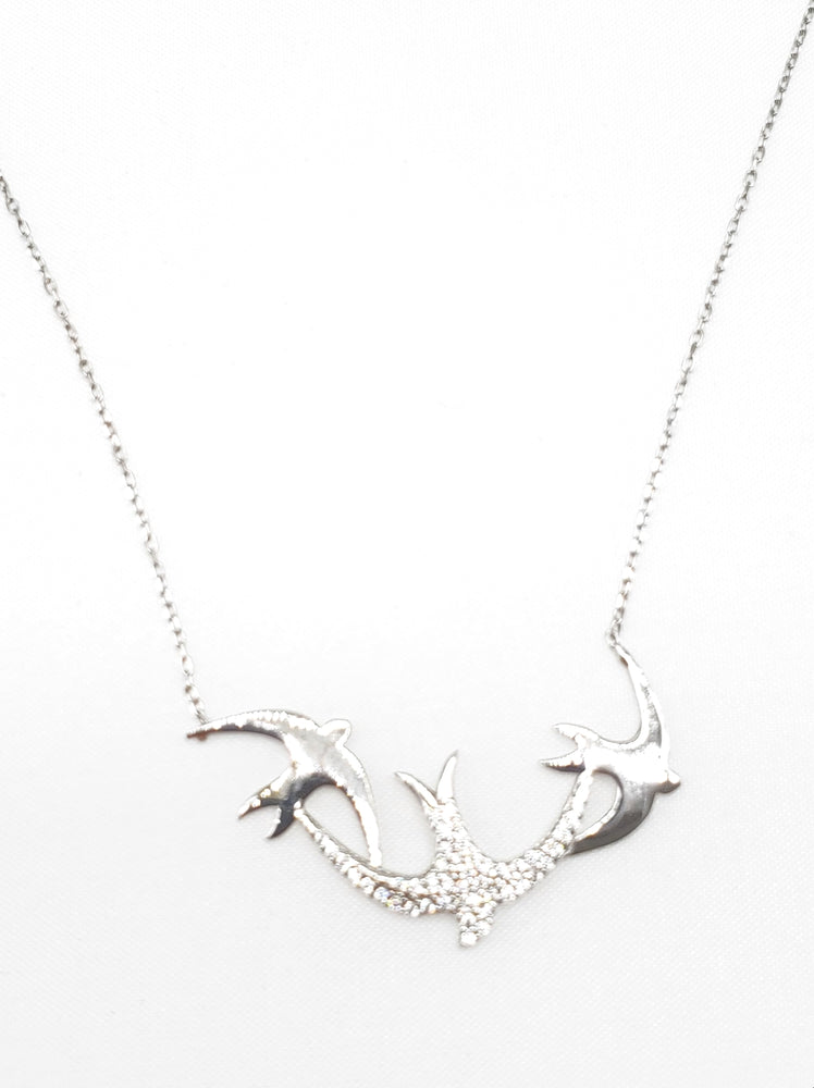 Birds w/ CZ Necklace