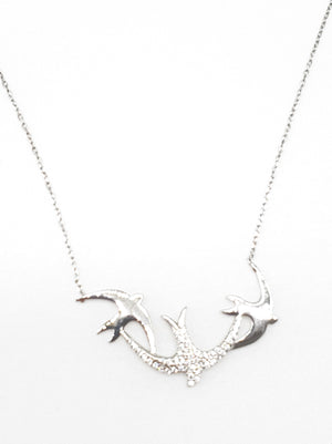 Load image into Gallery viewer, Birds w/ CZ Necklace
