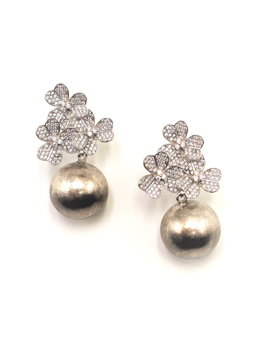 Silver Flowers w/ Hanging Ball Earrings