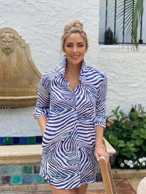 Zebra Royal Blue Linen Dress