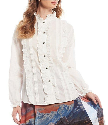 Tasha Polizzi ruffle front button down shirt peasant white blouse women